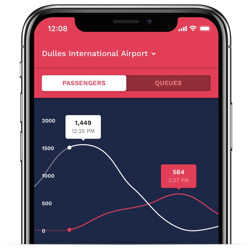 iPhone showing passengers arriving and departing from the airport