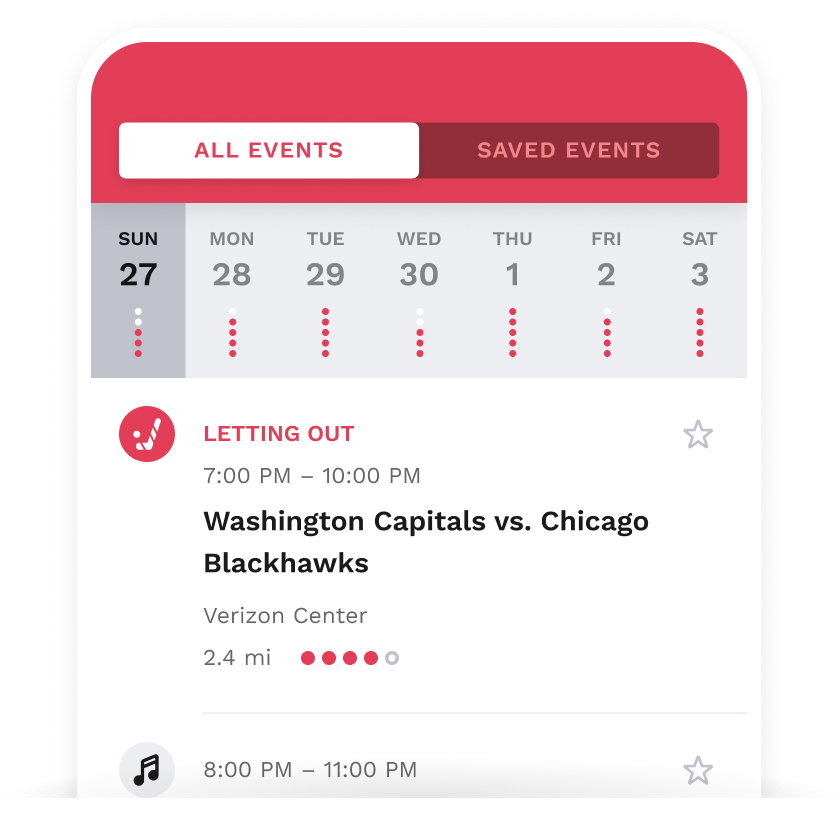 iPhone showing the day's popular events